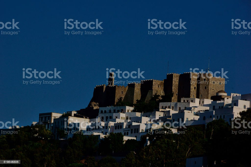 Castles in Greece-The Monastery Castle of Patmos island stock photo