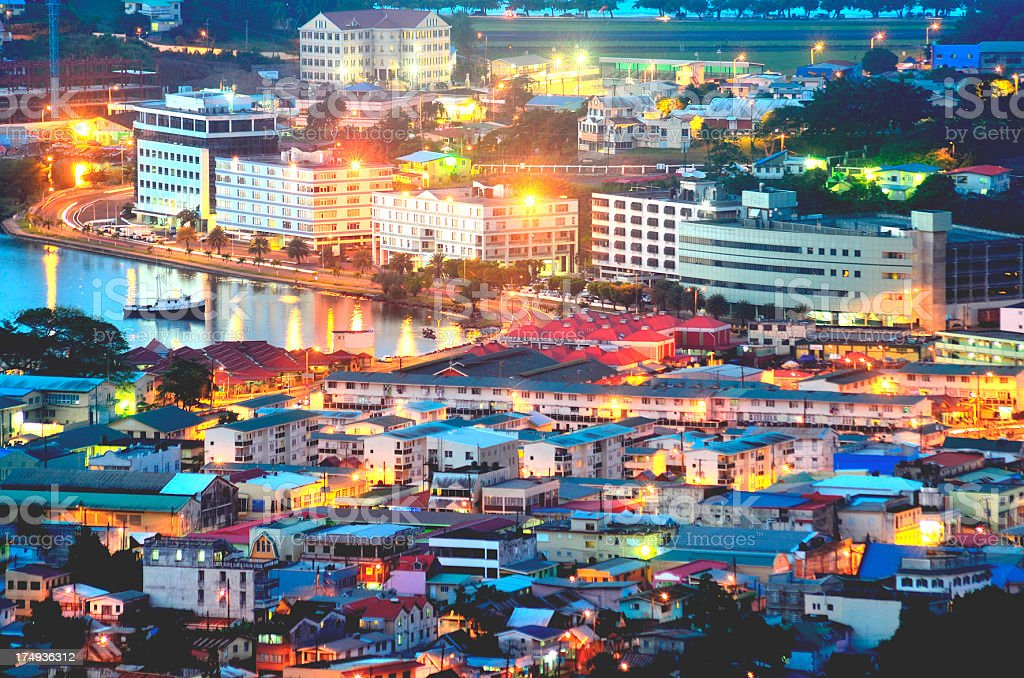 Castries St Lucia; city at night stock photo
