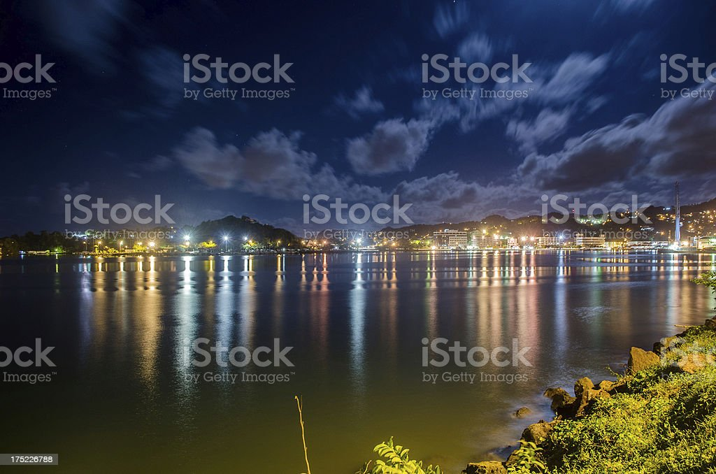 Castries waterfront at night royalty-free stock photo