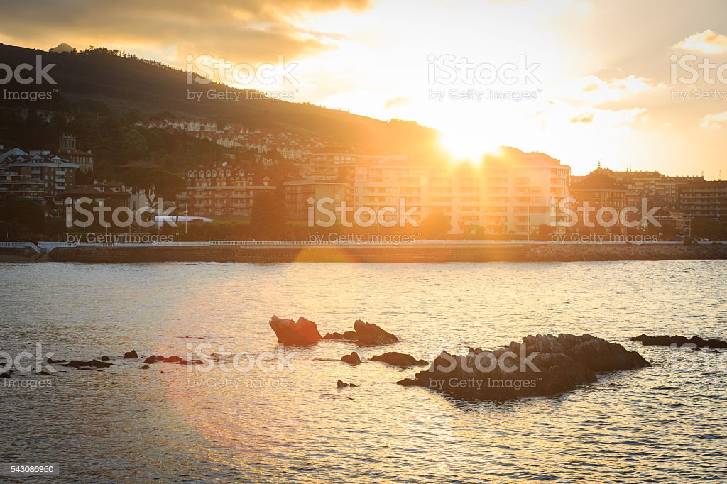 Castro Urdiales at sunset, Cantabria, Spain stock photo