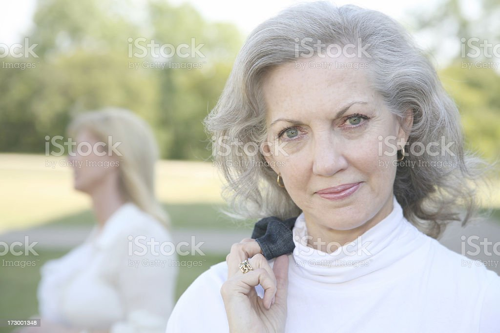 Casual Adult Woman Enjoying The Breezy Day royalty-free stock photo