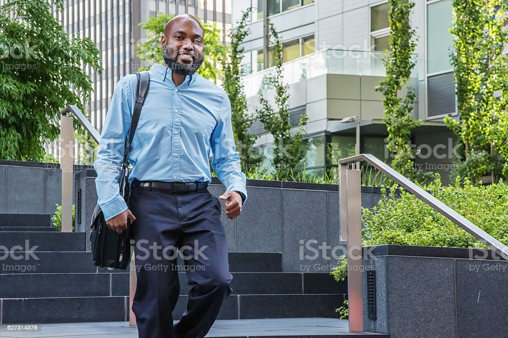 Casual African American Businessman in Blue stock photo