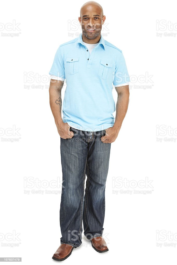 Casual African American male full length very attractive smiling confidently royalty-free stock photo