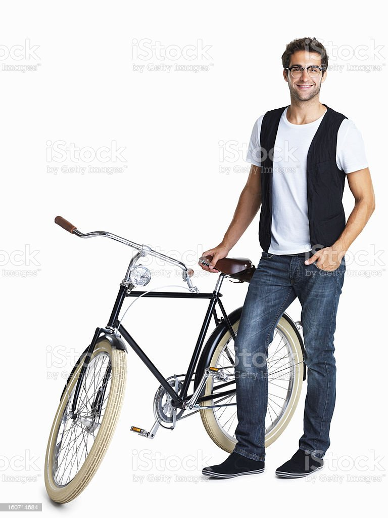 Casual and hip man with his retro bicycle royalty-free stock photo