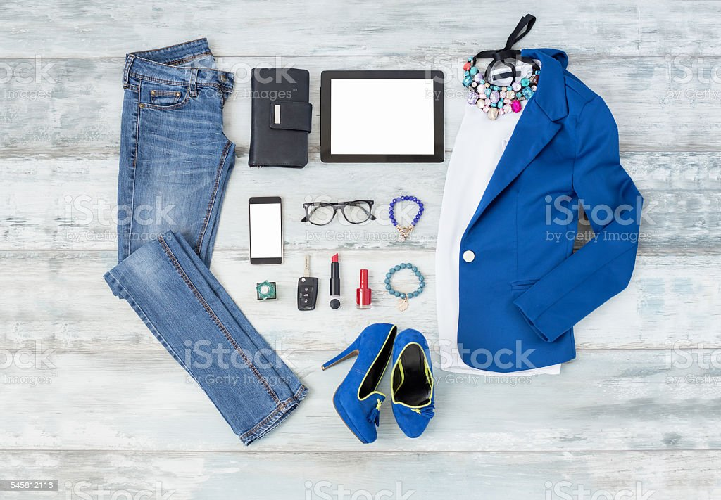 Casual and stylish choathing setup for women stock photo
