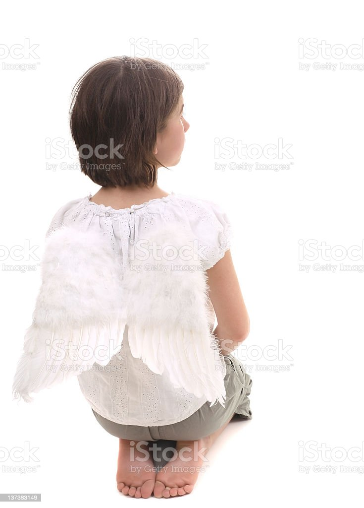 casual angel praying royalty-free stock photo