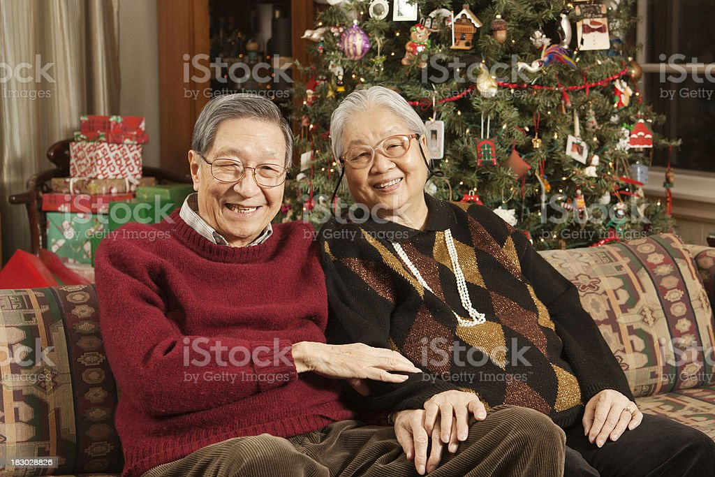 Casual Asian Senior Couple Celebrating Christmas with Decorated Tree, Gifts royalty-free stock photo
