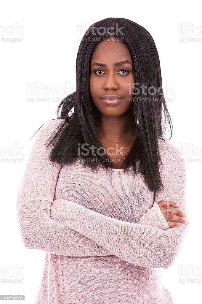 casual black woman stock photo