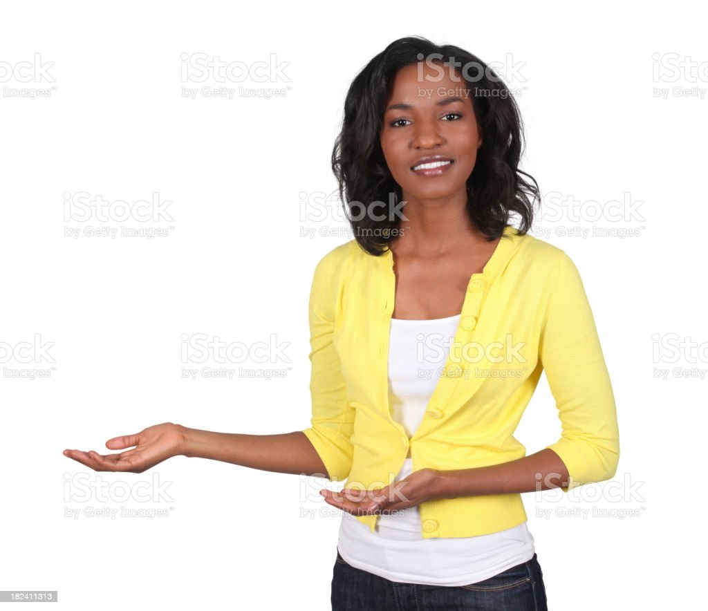 Casual black woman presenting royalty-free stock photo