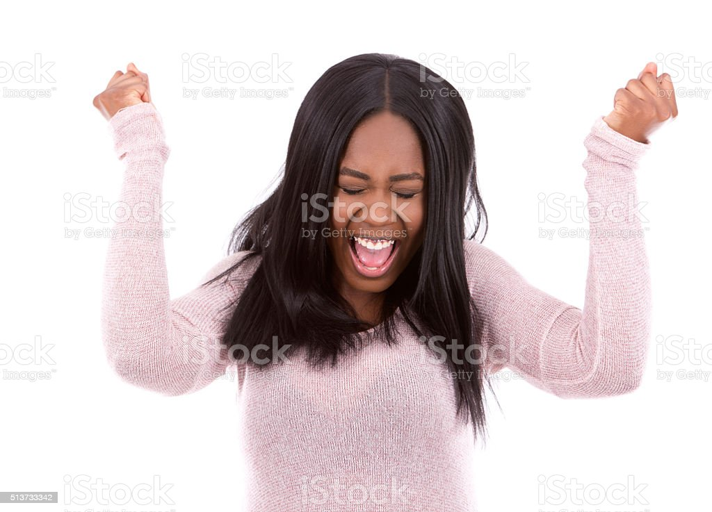 casual black woman screaming stock photo
