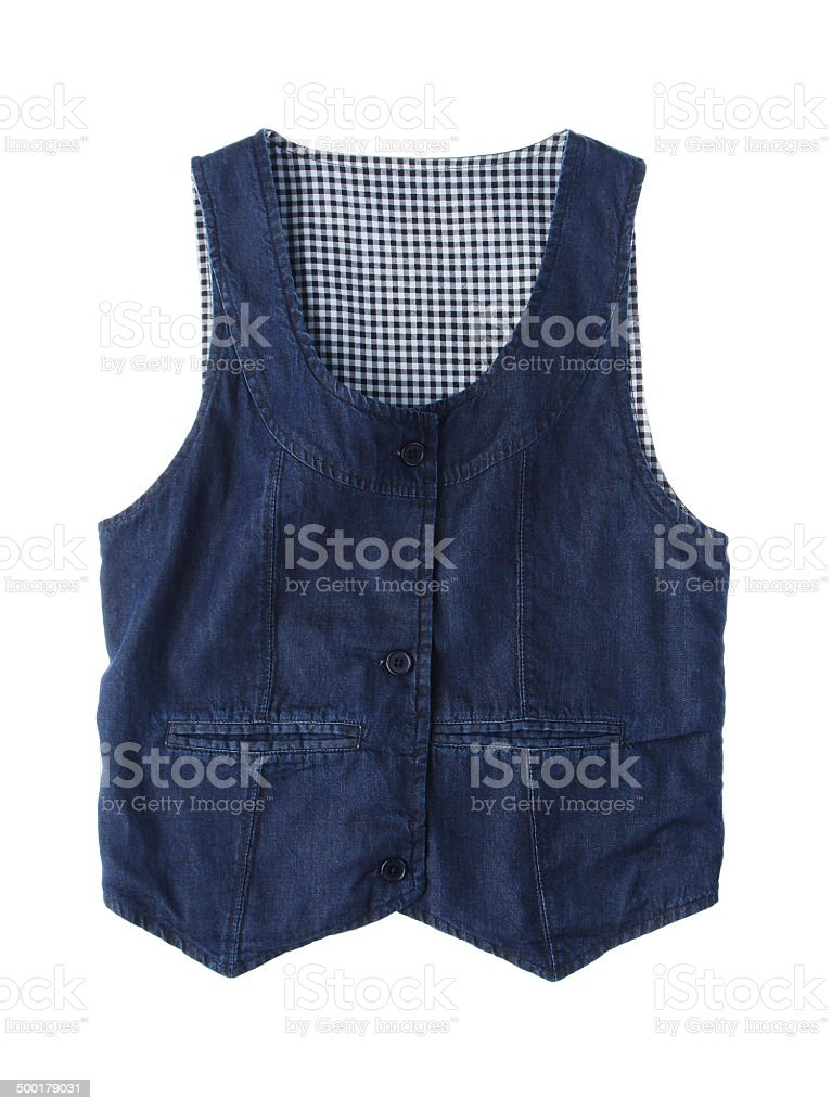Casual blue jean vest isolated stock photo