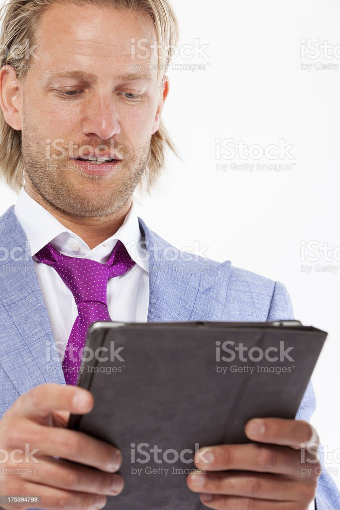 Casual business man with tablet PC stock photo