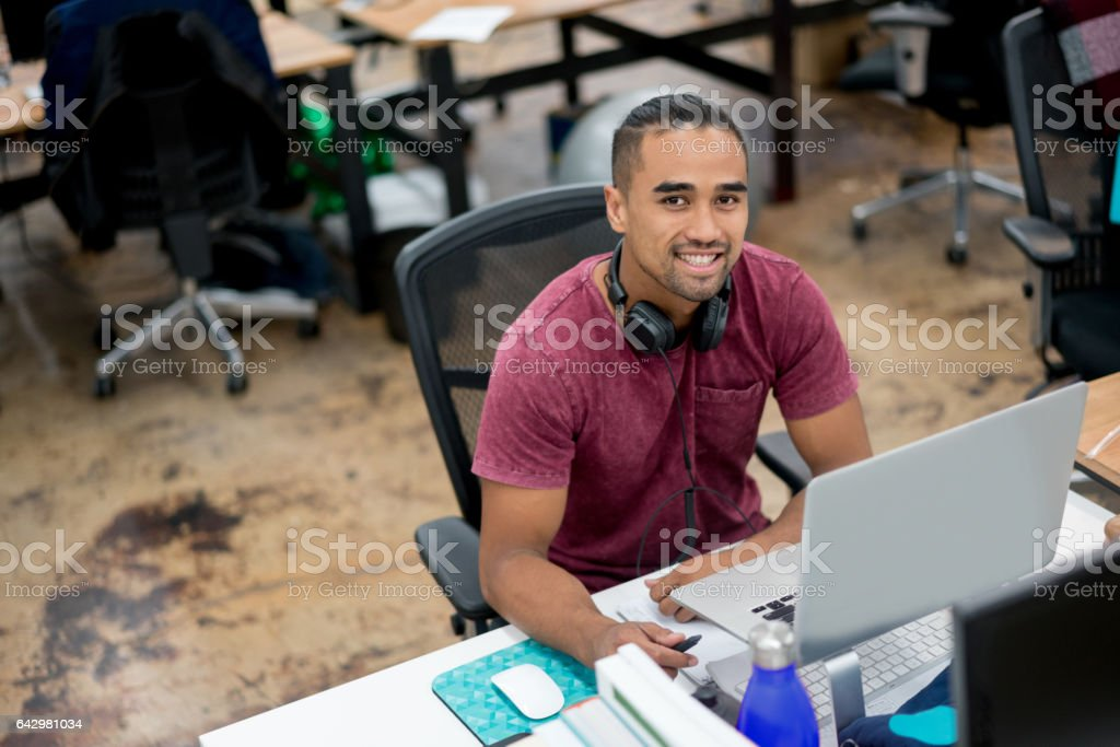 Casual business man working at the office stock photo