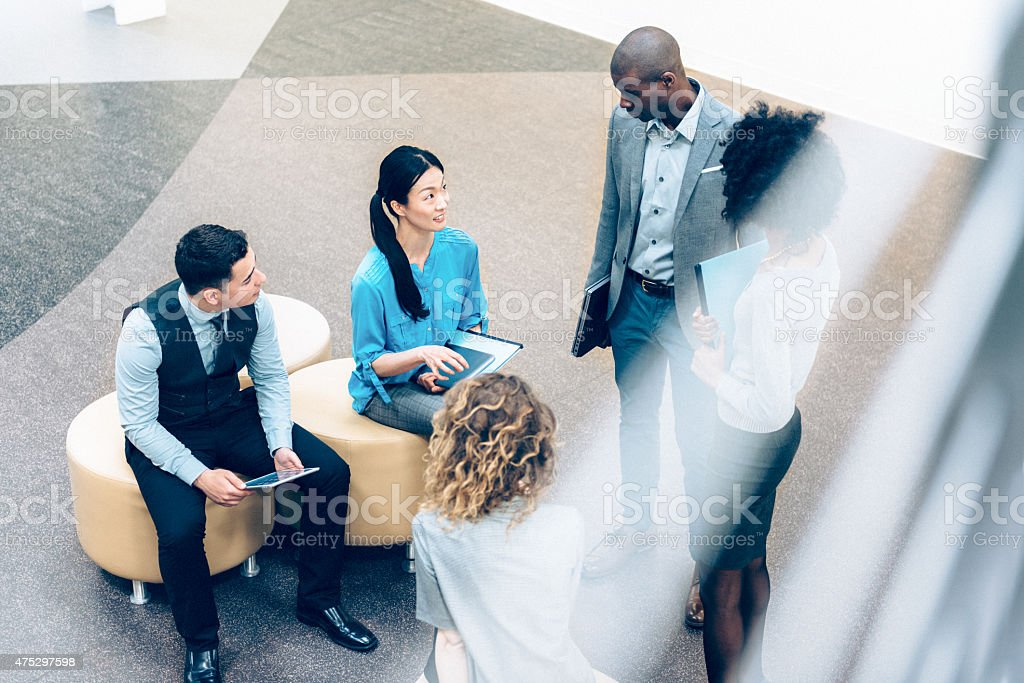 Casual Business Meeting in the Lobby stock photo