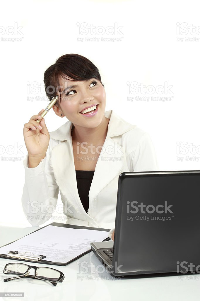 Casual business woman got an idea stock photo