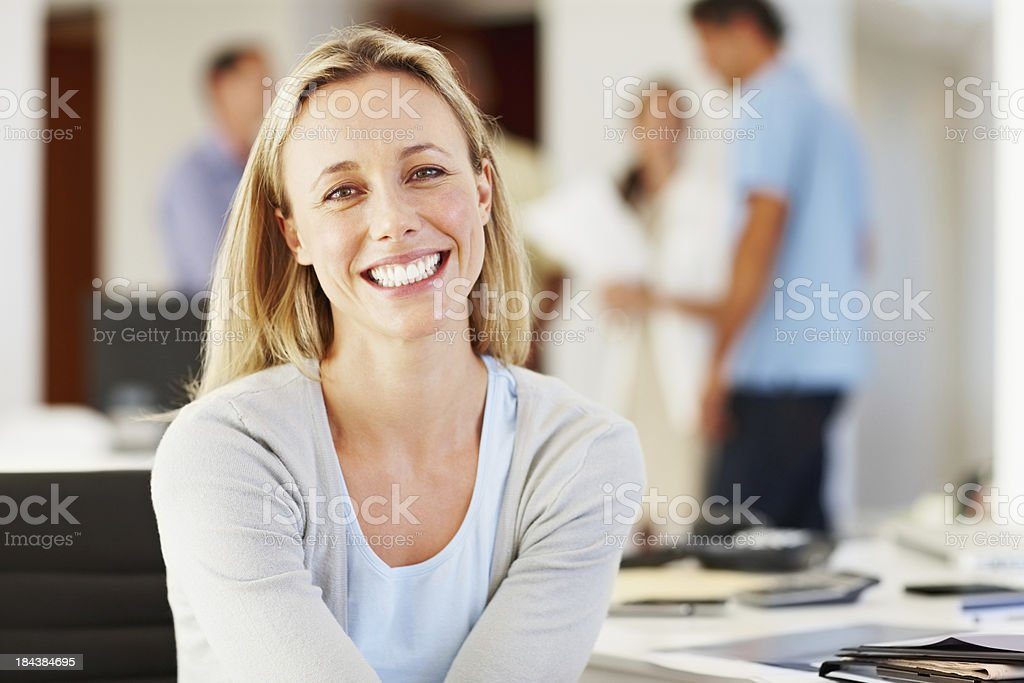 Casual business woman with associates royalty-free stock photo