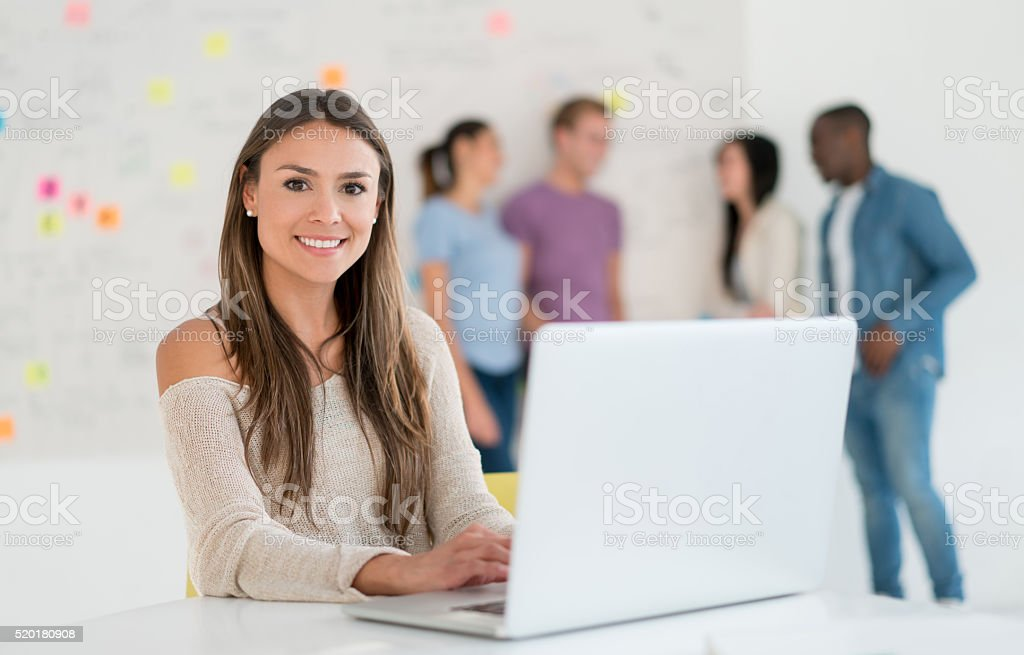 Casual business woman working online stock photo