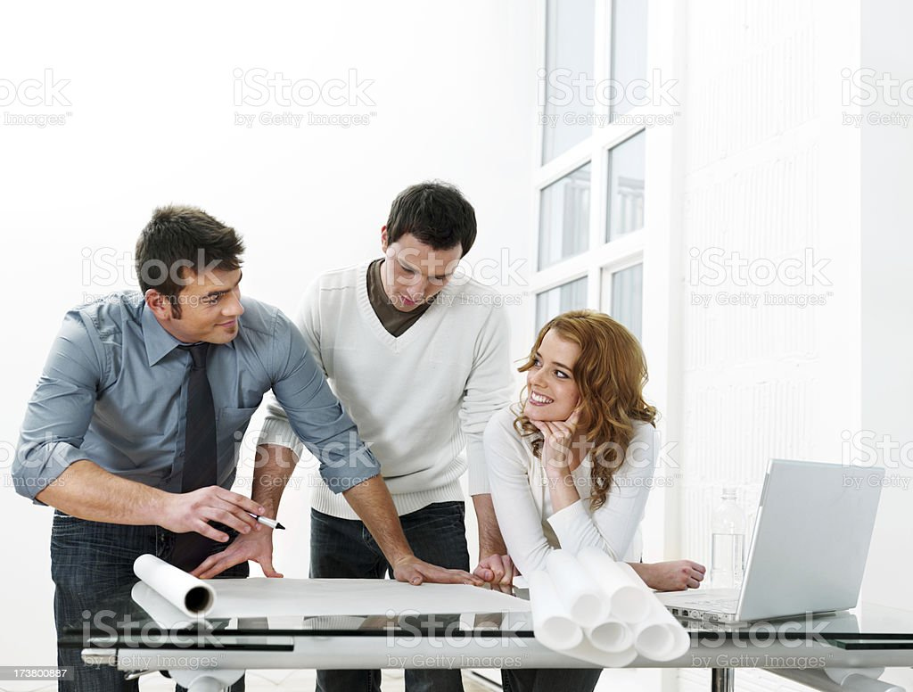Casual business working on plans royalty-free stock photo