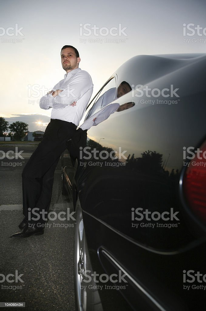 casual businessman and car royalty-free stock photo