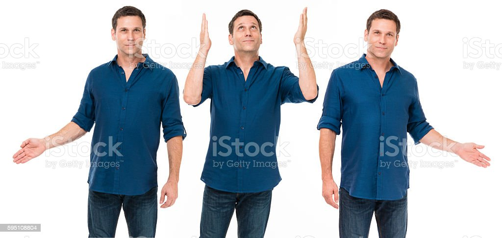 Casual Businessman gesturing isolated on white background stock photo