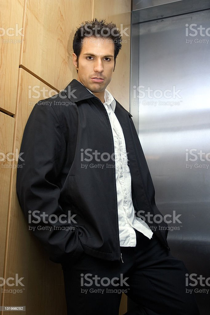 Casual businessman in the elevator royalty-free stock photo