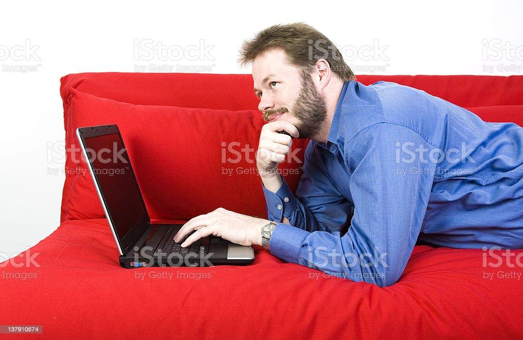 Casual businessman thinking royalty-free stock photo
