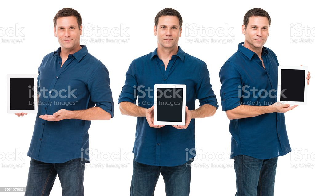 Casual Businessman with digital tablet computer isolated on whit stock photo