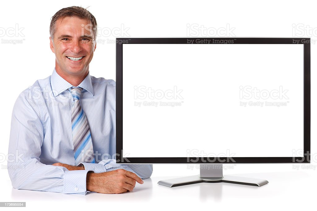 Casual Businessman with Screen stock photo