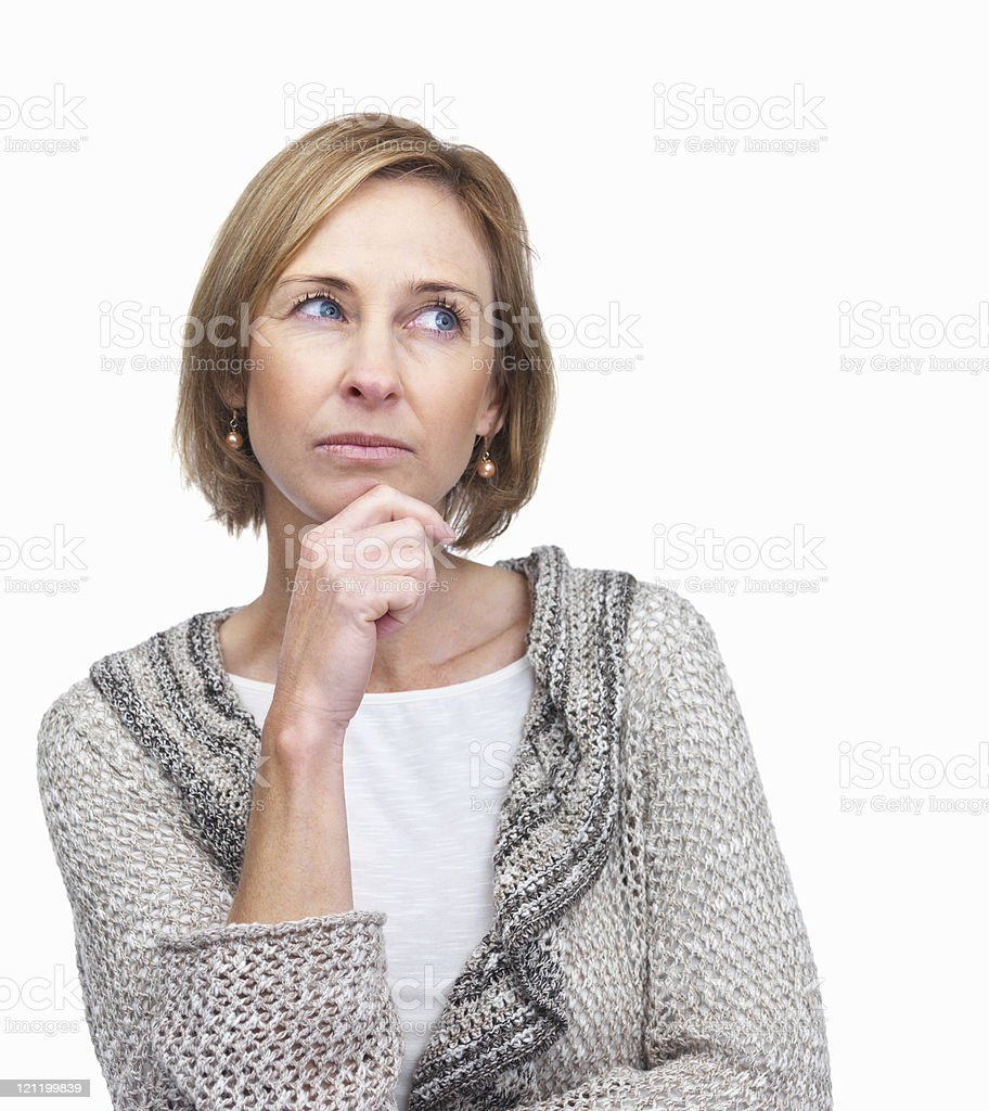 Casual businesswoman daydreaming isolated on white background royalty-free stock photo