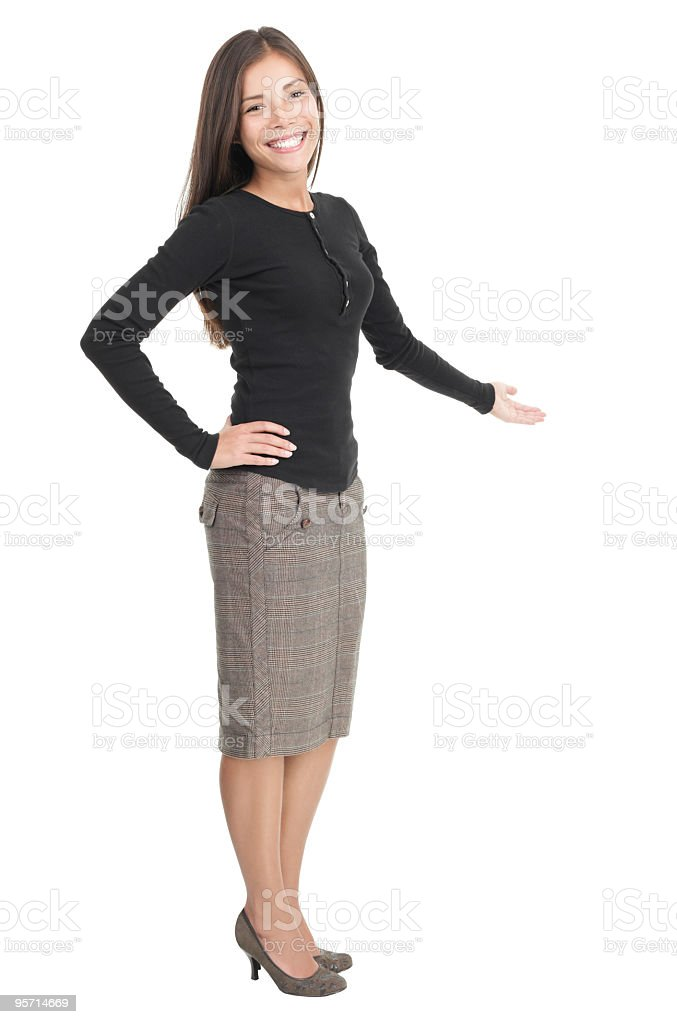 Casual businesswoman welcome gesture stock photo