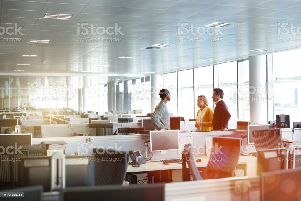 Casual catch up in the office stock photo