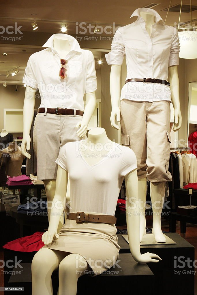 Casual Clothing Display Mannequin Store stock photo