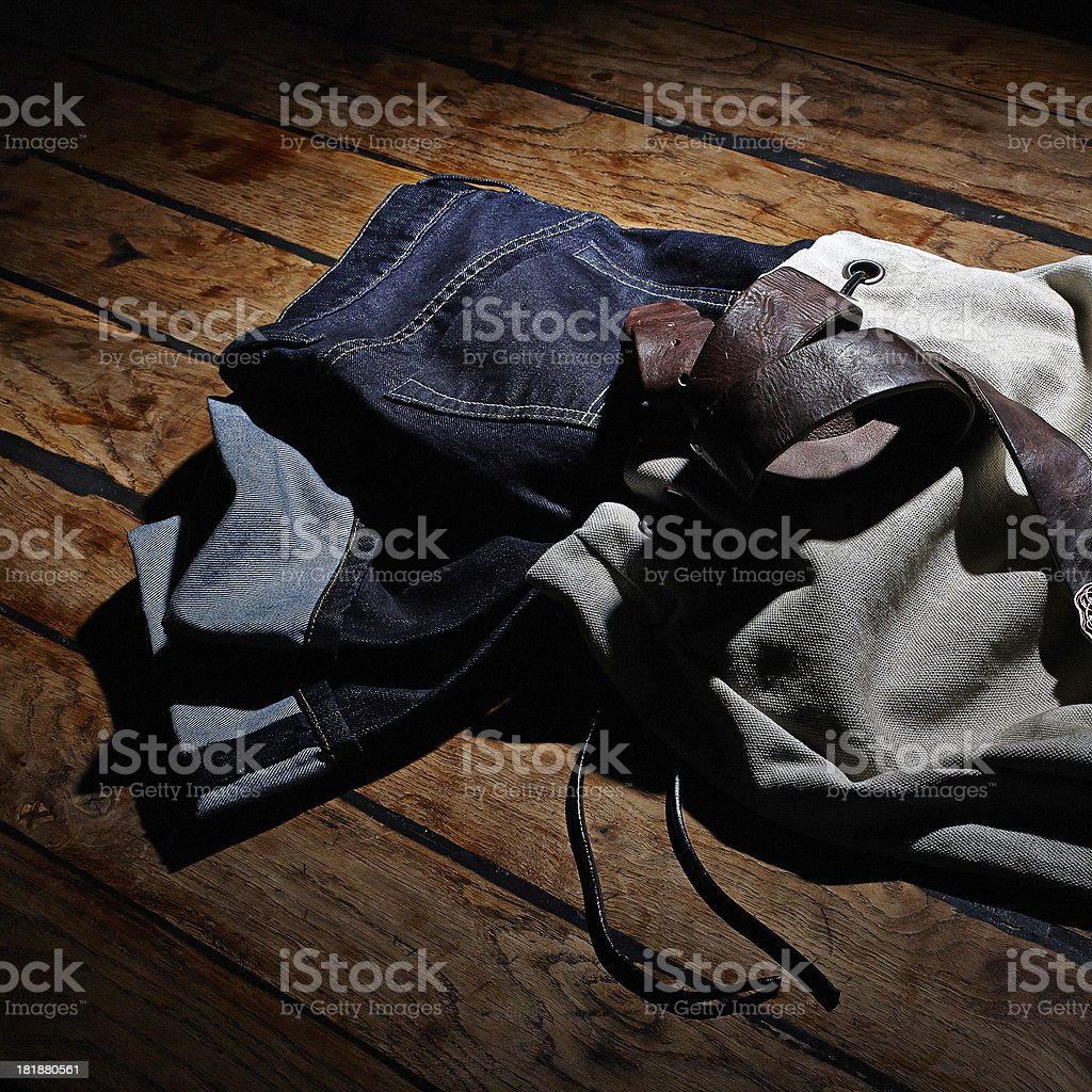 Casual Clothing on old wooden table stock photo