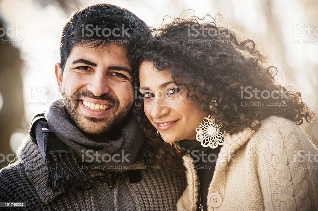 casual couple of lover in winter on the city royalty-free stock photo