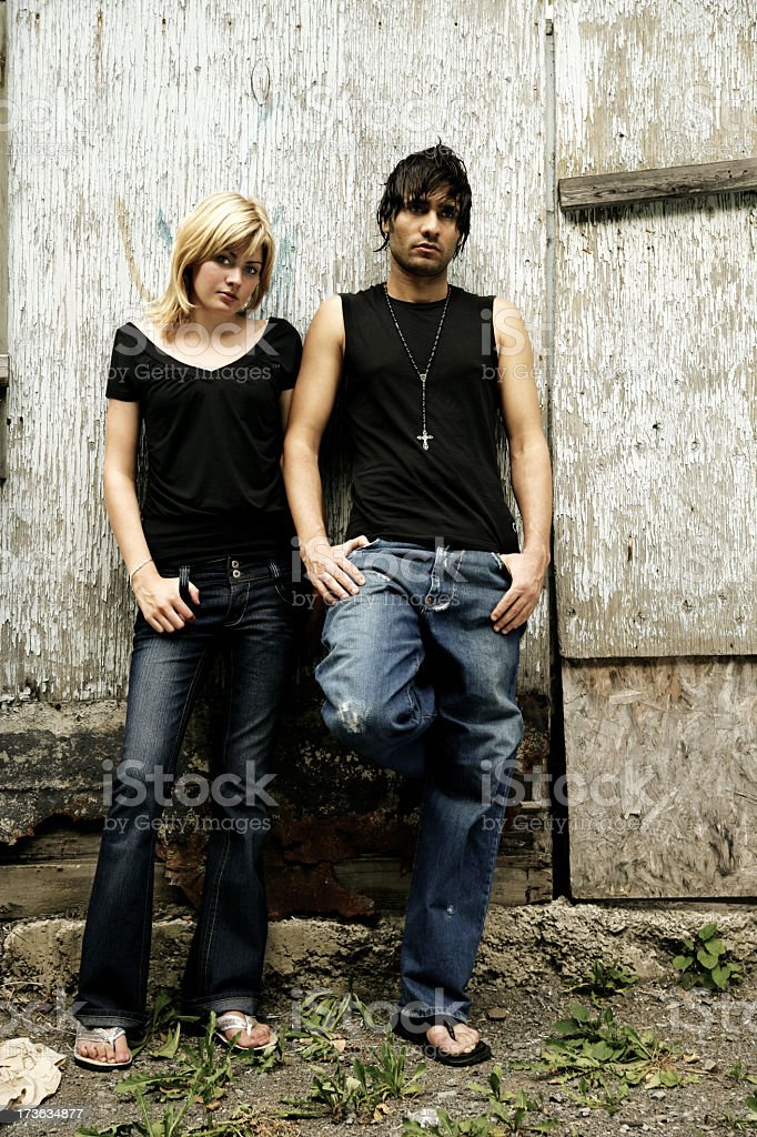 Casual couple outdoors royalty-free stock photo