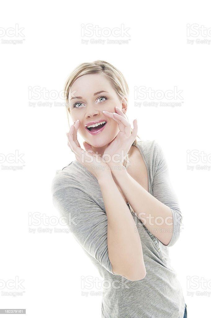 Casual cute woman shouting royalty-free stock photo