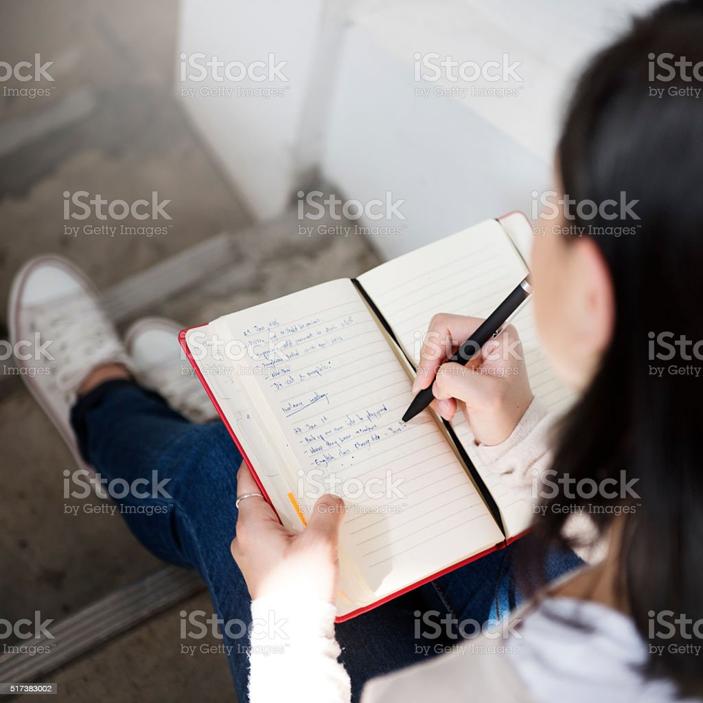 Casual Diary Journal Leisure Message Woman Concept stock photo
