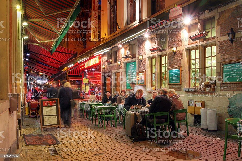 Casual dinning in Brussels, Belgium stock photo