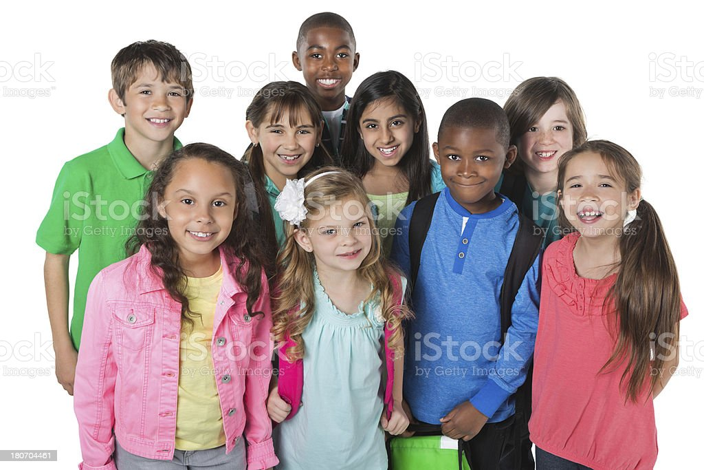 Casual diverse group of elementary school students with backpacks royalty-free stock photo