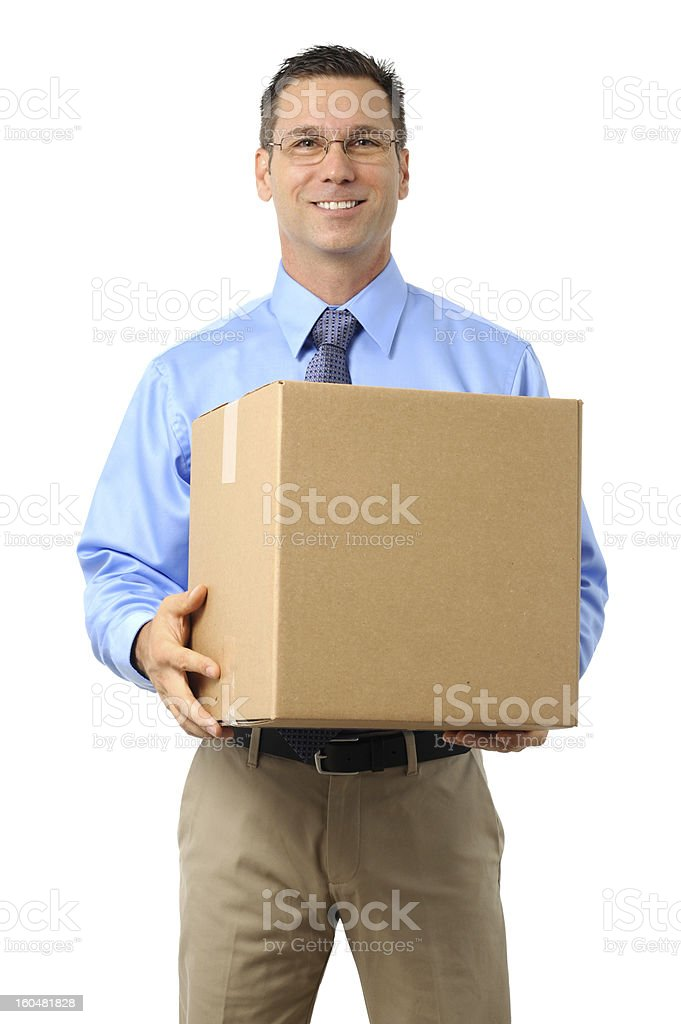 Casual Dress Businessman Holding Cardboard Box Isolated on White Background royalty-free stock photo