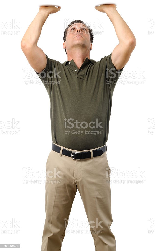 Casual Dress Businessman Holding Object Over Head on White stock photo