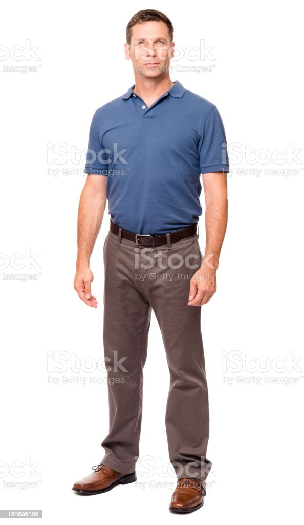 Casual Dressed Man Hands at Sides Isolated on White Background stock photo