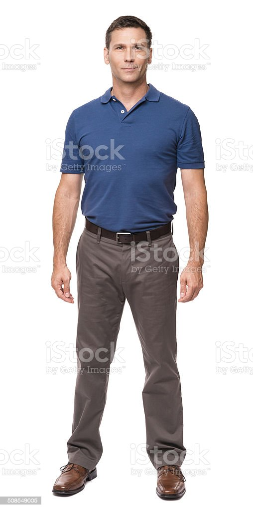 Casual Dressed Man with Hands at Sides on White stock photo