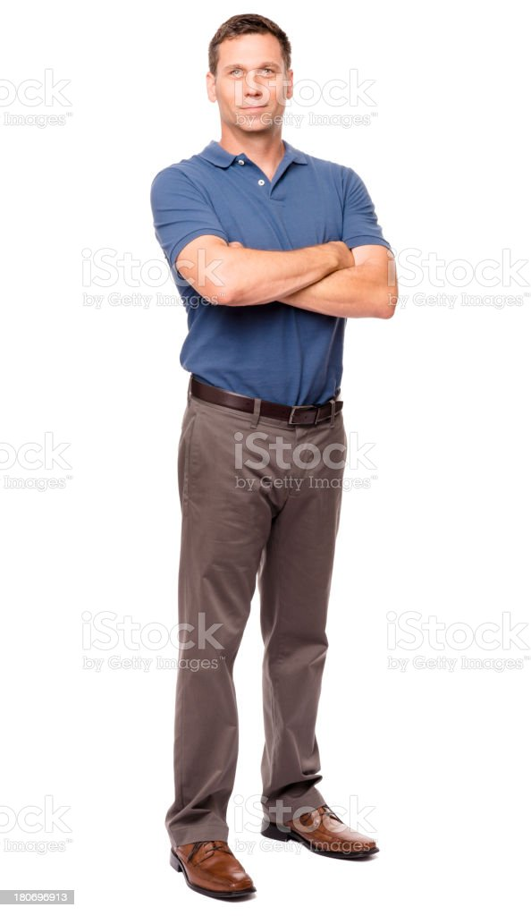 Casual Dressed Man with Arms Crossed on White stock photo