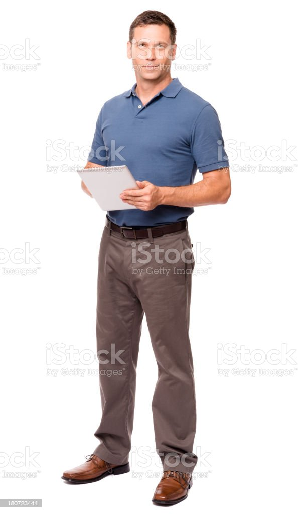 Casual Dressed Man with Digital Tablet Isolated on White Background stock photo