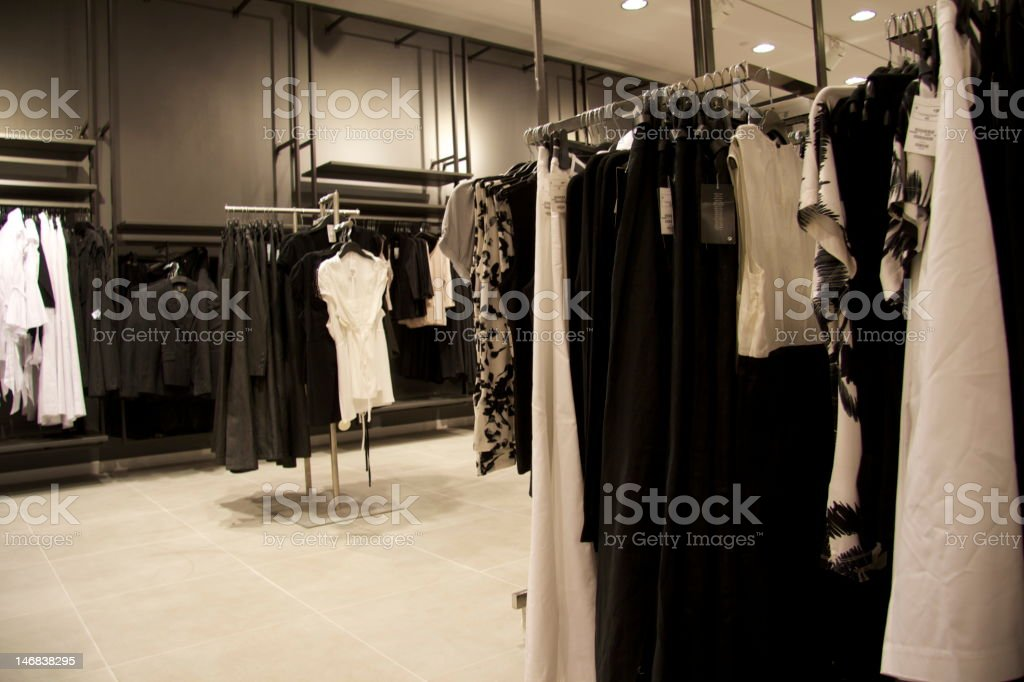 Casual fashion in a hip clothing store! stock photo