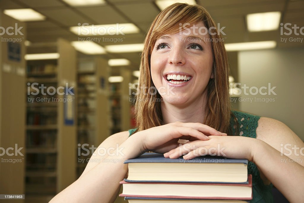 Casual Female College Girl in the Library royalty-free stock photo
