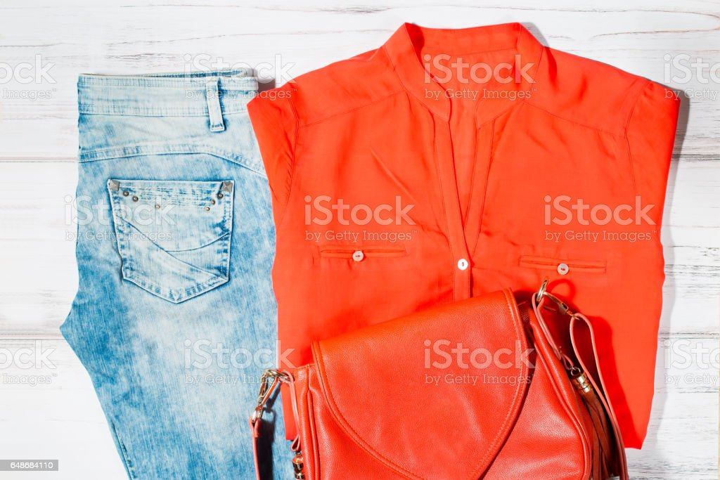 Casual female summer clothing collection stock photo
