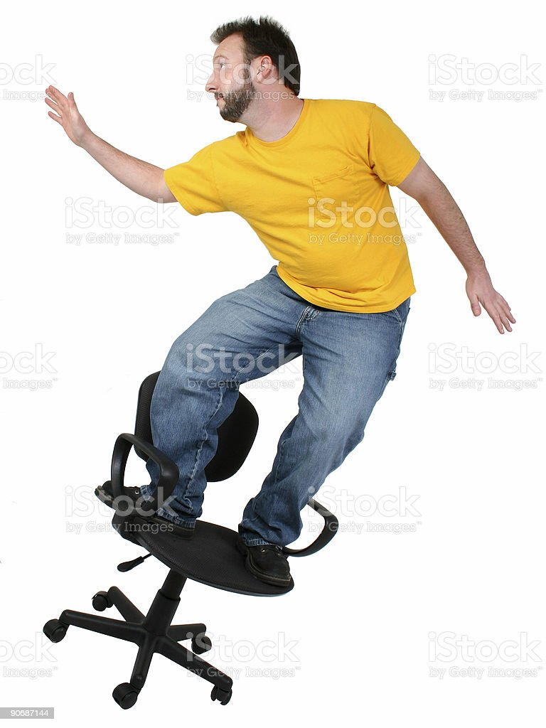 Casual Friday 30 Year Old Man Chair Surfing stock photo