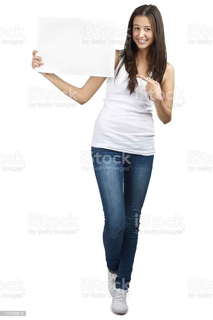 Casual girl holding a blank signboard royalty-free stock photo